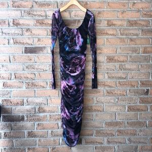 FUZZI | Floral ruched sheer long sleeved stretch body con designer winter dress